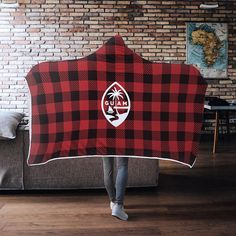 Guam Seal Red Buffalo Plaid Chamorro Christmas Gift Hooded Blanket