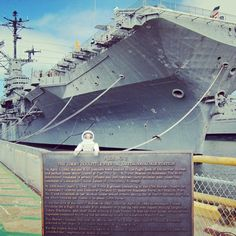 A visitor to the Museum has spotted Buzz Rover reading our historical plaque celebrating the Doolittle Raiders here on Pier 3! It's predecessor aircraft carrier, USS Hornet CV-8, took aboard 16 Army twin-engine bombers and 134 Army Air Forces personnel in April, 1942 personnel and sailed off to bomb several cities in Japan. The raid was personally requested by President Franklin D. Roosevelt in retaliation for the surprise attack on Pearl Harbor four months earlier.