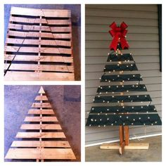 Pallet tree christmas yard, christmas tree from pallets, pallett christmas Pallet Projects Christmas, Pallet Wood Christmas Tree, Christmas Wood Crafts, Diy Christmas Tree, Christmas Decorations To Make, Rustic Christmas, Simple Christmas, Holiday Crafts, Pallet Tree
