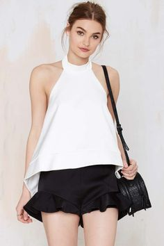 White Halter Top // Black Ruffle Shorts