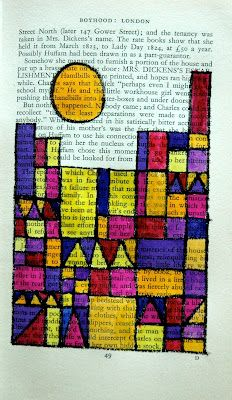 Exercises on warm and cool colours, complementary colours or primary and secodary colours inspired by Paul Klee's works of art. Here we used watercolors on book's pages, used as a grid of perpendicular lines.