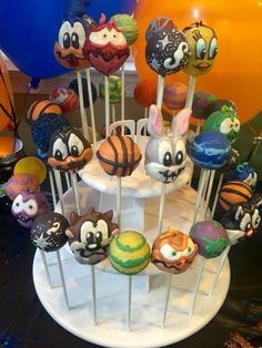 More cake pops done by best friend QSTASTEECAKES Space jam themed birthday party.