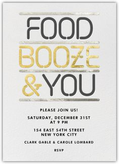 'Food, Booze & You' party invitation❣ Paperless Post