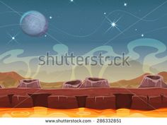 Fantasy Alien Planet Desert Landscape For Ui Game/ Illustration of a seamless cartoon sci-fi alien planet landscape background, with parallax layers, volcano crater, magma river and stars for ui game - stock vector