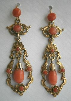 Victorian Gilt Coral Drop Earrings 1880'S