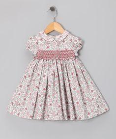 Fina Ejerique Pink & Gray Floral Babydoll Dress - Infant