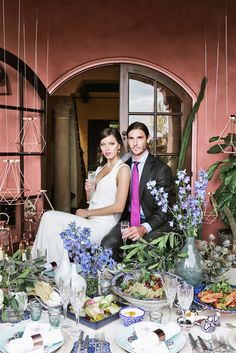 Moroccan Inspired Wedding Shoot - Bride and groom with Table setting - One Fine Day National Campaign 2015