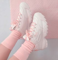 Shop Women's Fila Pink size Various Sneakers at a discounted price at Poshmark. Description: Pick FILA shoes Comes with shoe cleaner. Baby Pink Aesthetic, Aesthetic Shoes, Aesthetic Clothes, Aesthetic Pastel, Aesthetic Fashion, Dr Shoes, Cute Shoes, Me Too Shoes, Sock Shoes