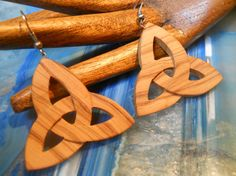 triquetra  wood earrings by Syama on Etsy, $18.00