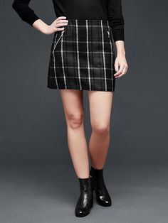 Comes in Tall... Plaid zip mini skirt