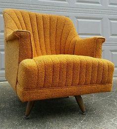 Vtg Funky Retro Atomic Mid Century Danish Swivel Barrel Sofa Arm Chair Orange