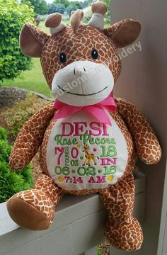 Personalized baby gift engraved baby hair brush and comb set personalized baby gift stuffed animal giraffe stuffed animal monogrammed stuffed animalbirth announcement stuffed animal negle Choice Image