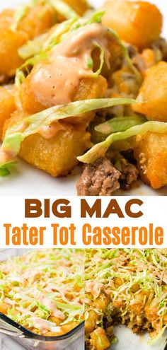 Big Mac Tater Tot Casserole is an easy dinner recipe that starts out with a base of ground beef, onions and dill pickles, all tossed in a copycat Big Mac sauce, and then topped with cheddar cheese and tater tots. with friends Big Mac Tater Tot Casserole Healthy Meat Recipes, Meat Recipes For Dinner, Easy Healthy Recipes, Easy Hamburger Meat Recipes, Hamburger Dinner Ideas, Breakfast Recipes, Dessert Recipes, Tater Tot Casserole, Casserole Dishes