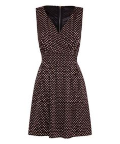 Look at this Black & Maroon Floral Tie-Back Surplice Dress on #zulily today!