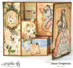 Gilded Lily Card - Marie Antoinette by Jane Fancy Fold Cards, Folded Cards, Graphic 45, Trifold Shutter Cards, Papel Scrapbook, Scrapbooking, Step Cards, Vintage Crafts, Paper Cards