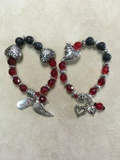 Red Glass and Lava Beads Essential Oils Stretchy Bracelets