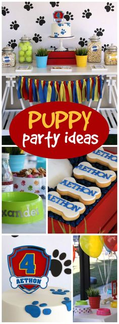 What a fun puppy themed Paw Patrol birthday party!  See more party ideas at CatchMyParty.com!