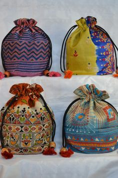 Kantha work Potli bags. My Bags, Purses And Bags, Jute Tote Bags, Potli Bags, Ethnic Bag, Indian Textiles, Indian Embroidery, Work Bags, Little Bag
