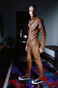 Streamline Leather Suit Tan