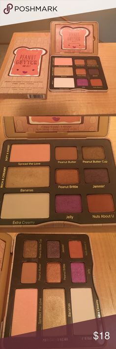 Too Faced peanut butter pallet Some colors are used and some are brand new. The used ones have been used once. It's like new! Popular pallet you can't get any more. Too Faced Makeup