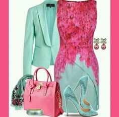 Outfits Ideas For Ladies. the pink nicely match w the aqua blue Classy Outfits, Chic Outfits, Beautiful Outfits, Dress Outfits, Fashion Dresses, Dress Up, Pink Dress, Dress Shoes, Look Fashion