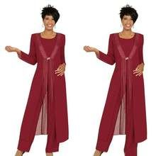 2019 Three Piece Crimson Mother Of The Bride Pant Suits With Jacket Chiffon Custom Made Long Sleeve Wedding Guest Dress Outfit Vestidos Plus Size, Plus Size Dresses, Party Gowns, Wedding Party Dresses, Formal Wedding, Suit With Jacket, Mother Of The Bride Suits, Mothers Dresses, Bride Dresses