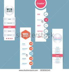 Vector Vertical Header Web Menu Design Collection - stock vector