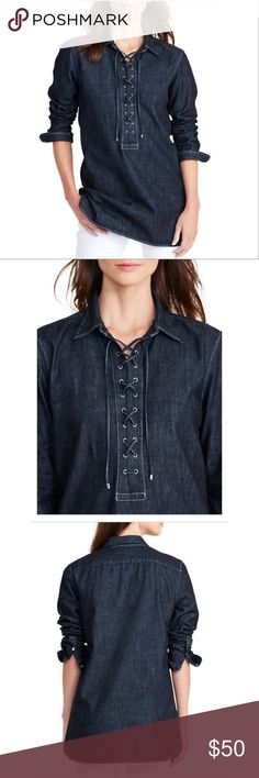 """NWT Lauren Ralph Lauren Denim Lace Up Tunic New with tags. Never worn. Denim tunic from Lauren Ralph Lauren. Lace up. Size M. Can be worn as a dress. Curved hemline. Originally $100. 31"""" length. 20"""" from armpit to armpit ( layed flat ) style # 200653363001. Lauren Ralph Lauren Tops Tunics"""