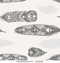 Vector seamless pattern. Feather silhouettes on light background