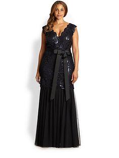 Tadashi Shoji, Sizes 14-24 - Sequin Gown - Saks.com