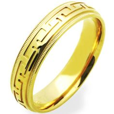 14K Yellow Gold Wedding Bands For Men 5MM Greek Sign Ring , Size 12