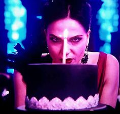 Awesome Lana (Evil Queen Regina) #Once #BTS examining her birthday cake Once S5B Spring premiere E12 #SoulsofTheDeparted #OnceTurns100 airs Sunday 3-6-16 #StevestonVillage #Richmond BC #Canada Tuesday 2-16-16 #HappyBirthdayEvilQueenRegina