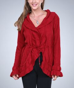 Love this Red Ruffle Cardigan - Women by Ananda's Collection on #zulily! #zulilyfinds