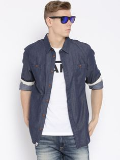 Buy Vans Navy Classic Fit Denim Casual Shirt - Shirts for Men | Myntra