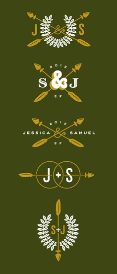 Jessica Hische's monograms for a friend's scout themed wedding. I'm just pretending they mean Siobhán & Jonny ;)