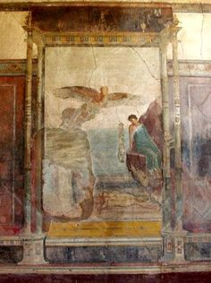 Pompeii. Villa Imperiale. The scene on the south wall illustrates the 'Death of Icarus'. It shows Daedalus w/outstretched wings flying over the shoreline where Icarus' lifeless body lies, watched over by a nymph. AD 79 eruption