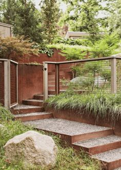 steel wall and hog wire fence and concrete steps, meandering up the hill, soft grasses, simple, all greenery (Simple Patio Step) Hog Wire Fence, Fence Gate, Fencing, Deer Fence, Backyard Fences, Front Yard Landscaping, Fenced Garden, Landscaping Ideas, Fence Design