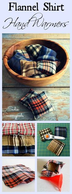 Just in time for autumn bonfires, chilly football games, and walking in a winter wonderland- DIY flannel hand warmers using scraps that came from thrifted shirts! Such a simple, quick project- any leftover fabric scraps will do- and you fill them with ric Upcycled Crafts, Homemade Gifts, Diy Gifts, Sewing Hacks, Sewing Crafts, Sewing Tips, Sewing Tutorials, Sewing Ideas, Reusable Hand Warmers