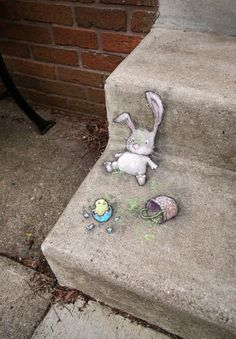 """David Zinn pavement chalk art """"Reggie learns the importance of checking the bottom of the basket before clocking out for the day"""" Amazing Street Art, 3d Street Art, Street Art Graffiti, Graffiti Artists, Berlin Graffiti, David Zinn, New York Graffiti, Chalk Art Quotes, 3d Chalk Art"""