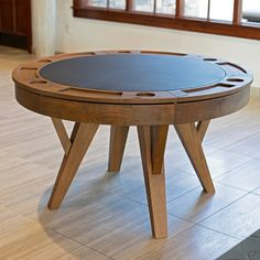 Loon Peak Santa Barbara Two-in-One Round Dining and Poker Table. This Solid Oak Table has Six Drink Holders with Large Chip Trays. Flip the Top and you have a Beautiful Dining Table with Storage for all your Games. Round Poker Table, Round Dining Table, Board Game Table, Table Games, Game Tables, Board Games, Game Room Furniture, Dining Furniture, Furniture Sale