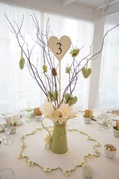 Soft sage green and white centerpiece Sweet Sage Green & Cream Homemade Knitted Wedding over Whimsical Wonderland Weddings Spring Wedding Centerpieces, Wedding Table Decorations, Wedding Themes, Wedding Advice, Wedding Cards, Wedding Stuff, Wedding Planning, Easter Wedding Ideas, Brunch Decor