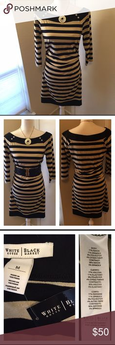 WHBM GOLD + BLACK Striped Dress This lovely stretchy dress is both flattering and sophisticated. The gold has a slight shimmer / glitter look but it is tasteful and pretty. The sides have elastic to keep your curves accentuated. The sleeves are 3/4 length. Would look great with a simple gold necklace or a waist belt. White House Black Market Dresses Long Sleeve