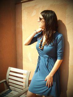 Indigo Wrap Dress Size S / Ready to Ship Indigo Blue by mimetik. Working dress Casual #workingdress #wrapdress