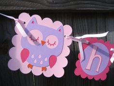 Girl Owl Birthday Banner by LindseysPartyPantry on Etsy, $22.00