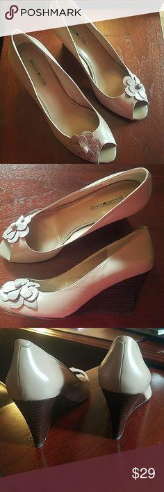 "Bandolino Peep toe Wedge with flower accent Taupe Leather shoe 3"" heel Bandolino Shoes Wedges"