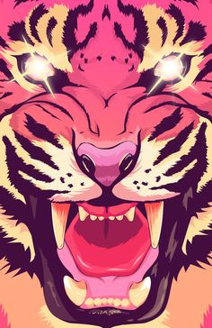 Cool angry tiger T-shirts Emoji, Angry Tiger, Go Pink, Purple, Tiger Art, Tiger T Shirt, Tiger Stripes, Crazy Cat Lady, Graphic Design Illustration