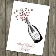 Thumbprint Guest book alternative Champagne Bottle for weddings and parties