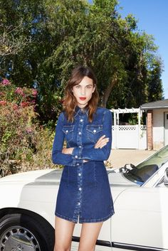 Alexa Chung rocks a sweet denim button-front dress from her new AG Collection