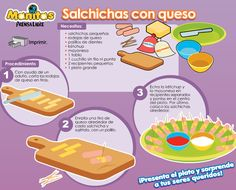 Salchichas con queso - Hago mi TareaHago mi Tarea Farm Animal Coloring Pages, Baby Food Recipes, Kids Meals, Lunch, Homemade, Desserts, Caravaggio, Erika, Google