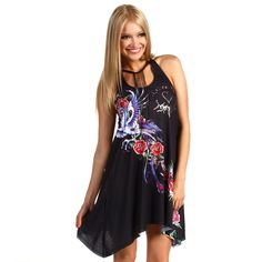 Ed Hardy War Of The Rosses Dress - Black